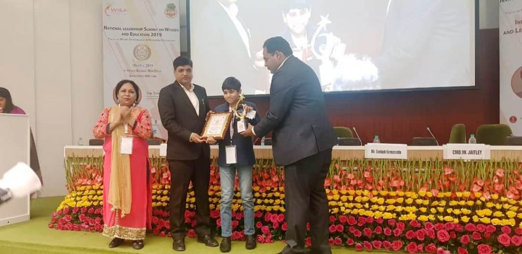 "Child Prodigy and Innovator Award"" at National Leadership Summit on Women and Education 2019"