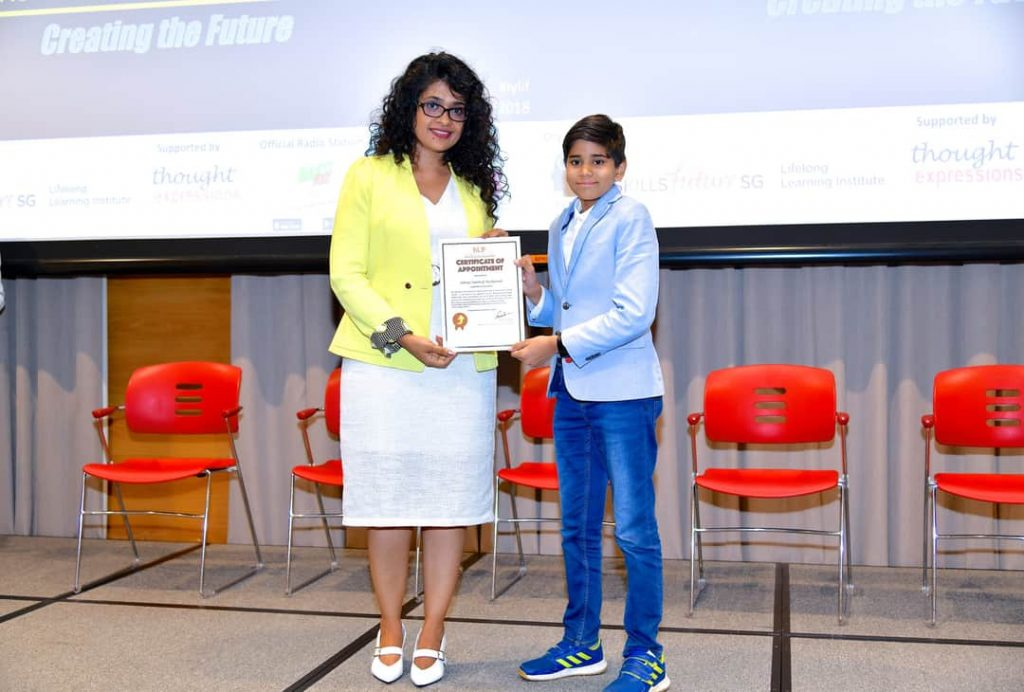 "Youngest International Youth Ambassador Award"" at the IYLIF 2018 conference in Singapore"